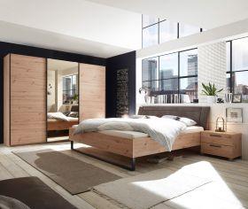 Schlafzimmer Set Bett Doppelbett Kleiderschrank Eiche Spiegel bronze 270cm 3 Tür1
