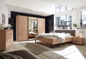 Schlafzimmer Set Kleiderschrank Bett Kommode Eiche Spiegel bronze 270cm 3 Türen1