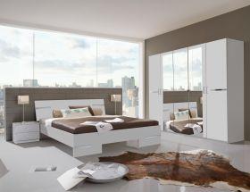 SchlafzimmerSet komplettANNA Doppelbett Nachtkommode Kleiderschrank 180x200 Weiß1