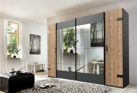 Schrank Kleiderschrank STOCKHOLM Schwebetüren Spiegel grau braun Weißtanne1