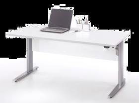 Schreibtisch höhenverstellbar elektrisch Motor ergonomisch 150cm Weiß Grau1