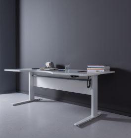 Schreibtisch höhenverstellbar elektrisch Motor ergonomisch 180cm Weiß Weiß1