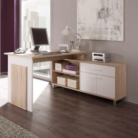 Schreibtisch PC Tisch Computertisch Eckschreibtisch Ecktisch Eiche Sonoma Weiß1