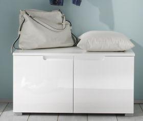 Schuhbank SPICE Garderobenbank Garderobe Schuhschrank 2 Türen 80cm weiß1