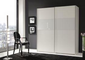 Schwebetürenschrank AREZZO Kleiderschrank Schrank Alpinweiß mit Abs Glas Weiß1
