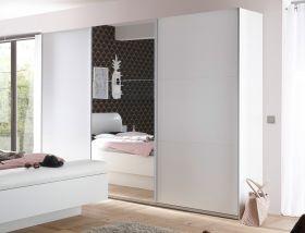 Schwebetürenschrank BRAVO Kleiderschrank Schrank Schlafzimmer Weiß mit Spiegel1