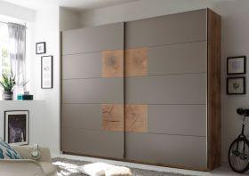 Schwebetürenschrank CAPRI Kleiderschrank Schrank Schlafzimmer grau Eiche 270cm1