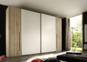 Schwebetürenschrank Kleiderschrank Schrank Schlafzimmerschrank Eiche Weiß 315 cm1