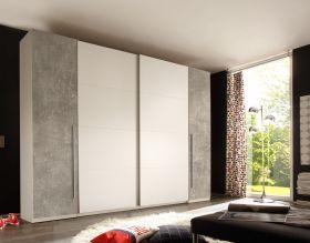 Schwebetürenschrank Kleiderschrank Schrank Schlafzimmerschrank weiß grau beton1