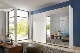 Schwebetürenschrank Kleiderschrank Schrank weiß mit Spiegel 250 cm1