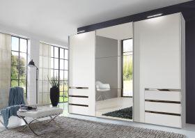 Schwebetürenschrank Kleiderschrank Schrank weiß mit Spiegel 300 cm1