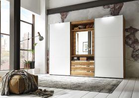 Schwebetürenschrank Magic Kleiderschrank Schrank Alpinweiß mit Spiegel 300 cm1
