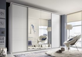Schwebetürenschrank SYNCRO Schiebetür Kleiderschrank Schrank 3,15m weiß Spiegel1