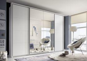 Schwebetürenschrank SYNCRO1 Kleiderschrank 315 x 226 cm Weiß Spiegel Dämpfung1