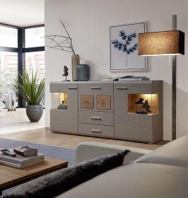 Sideboard Kommode FUN PLUS II Anrichte Schrank Wohnwand LED Licht 170cm grau1