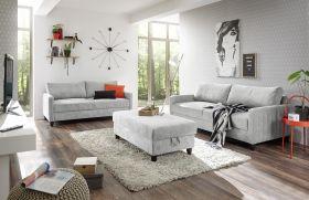 Sofa Set RIGA Sofagarnitur Wohnzimmerset Polstergarnitur Couch hellgrau silber1
