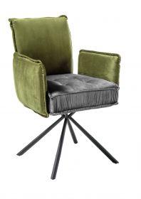 Stuhl JOELLE Esszimmerstuhl Armlehe Samt Stoff grau grün gepolstert1