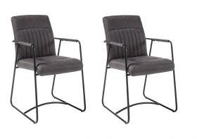 Stuhlset ANITA 2-tlg Stuhl Esszimmerstuhl Küchenstuhl Armlehne Metall grau1