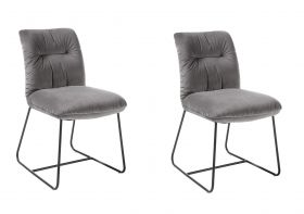 Stuhlset HOLLY 2-tlg Stuhl Esszimmerstuhl Küchenstuhl Metall Samt grau1