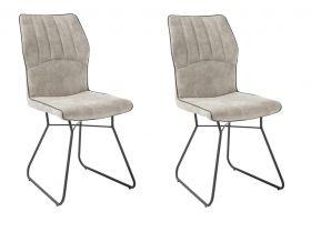 Stuhlset TALIA 2-tlg Stuhl Esszimmerstuhl Küchenstuhl Gestell Metall beige grau1