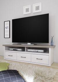 TV Lowboard LUCA Sideboard Wohnzimmer Schlafzimmer Flur Weiß Pinie 148cm1