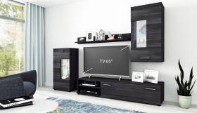 Wohnwand Anbauwand TV Wand Wohnzimmer Möbel Set Cool 4-teilig schwarz1