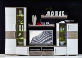Wohnwand JAM 5tlgWohnzimmer-Set 300cm Vitrine Wandboard TV Regal weiß Eiche LED1