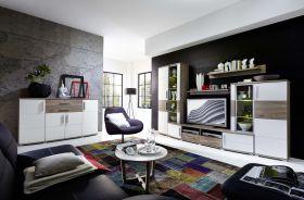 Wohnwand JAM Wohnzimmer-Set Vitrine Wandboard TV Regal Sideboard weiß LED1