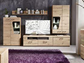 Wohnwand Wohnzimmer-Set 1 FUNNY PLUS Vitrine Wandboard TV Eiche braun LED1