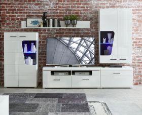 Wohnwand Wohnzimmer-Set 1 FUNNY PLUS Vitrine Wandboard TV weiß glanz LED Licht1