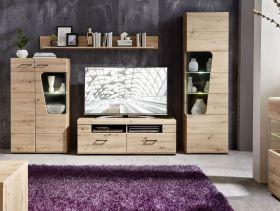 Wohnwand Wohnzimmer-Set 2 FUNNY PLUS Vitrine Wandboard TV braun Eiche LED1