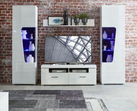 Wohnwand Wohnzimmer-Set 3 FUNNY PLUS Vitrine Wandboard TV weiß glanz LED Licht1