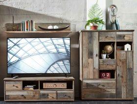 Wohnwand Wohnzimmer-Set 3tlg Lowboard Wandregal TV Tisch vintage shabby retro1