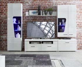 Wohnwand Wohnzimmer-Set 4 FUNNY PLUS Vitrine Wandboard TV weiß glanz LED Licht1