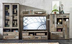 Wohnwand Wohnzimmer-Set Vitrine Lowboard Wandregal TV Tisch vintage shabby retro1