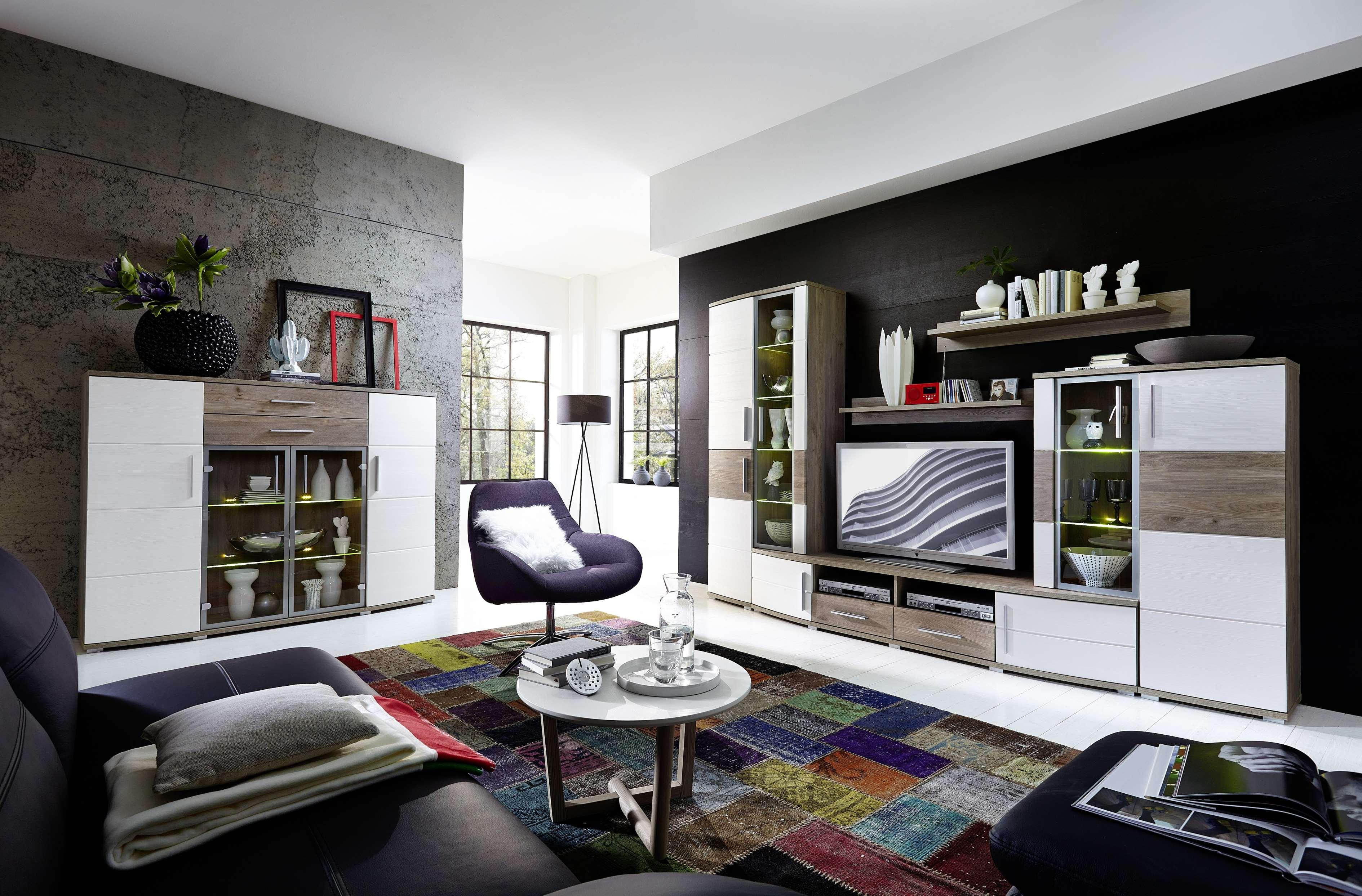 wohnwand jam 5tlg wohnzimmer set 300cm vitrine wandboard tv regal wei eiche led ebay. Black Bedroom Furniture Sets. Home Design Ideas