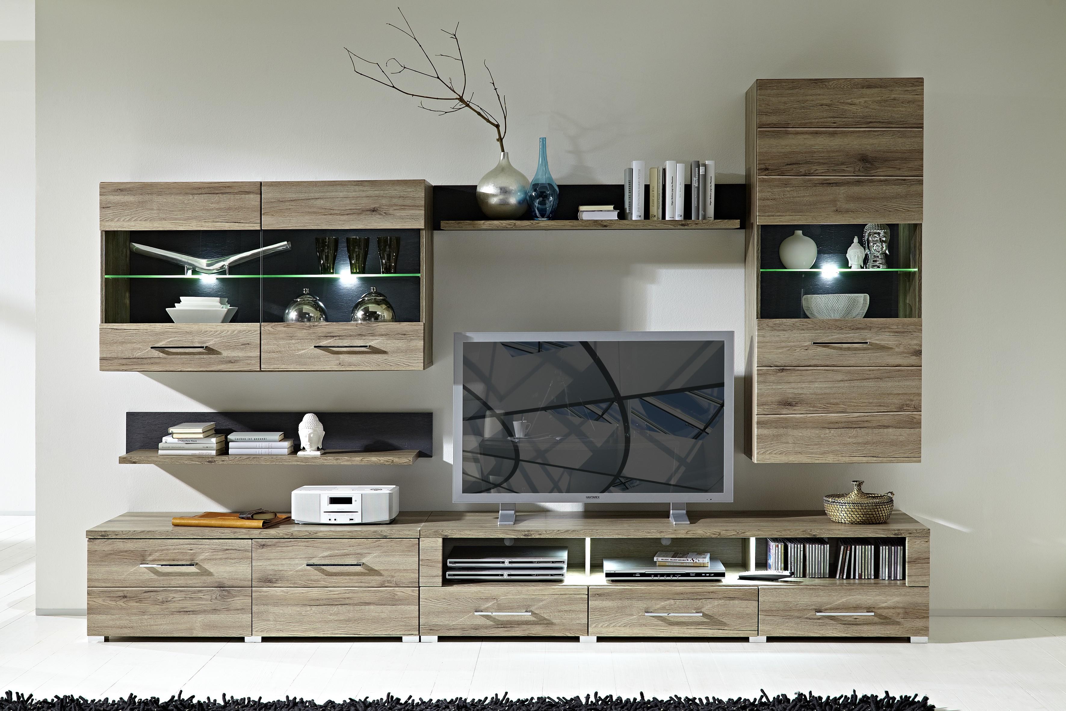 Wohnwand DEAL3 Wohnzimmer-Set Vitrine Wandboard TV Regal Eiche LED ...