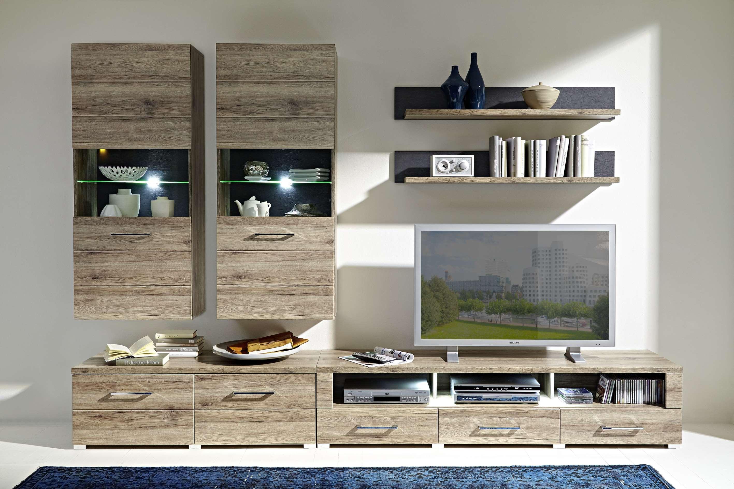 Wohnwand Deal2 Wohnzimmer Set Vitrinen Wandboard Tv Tisch Eiche Led
