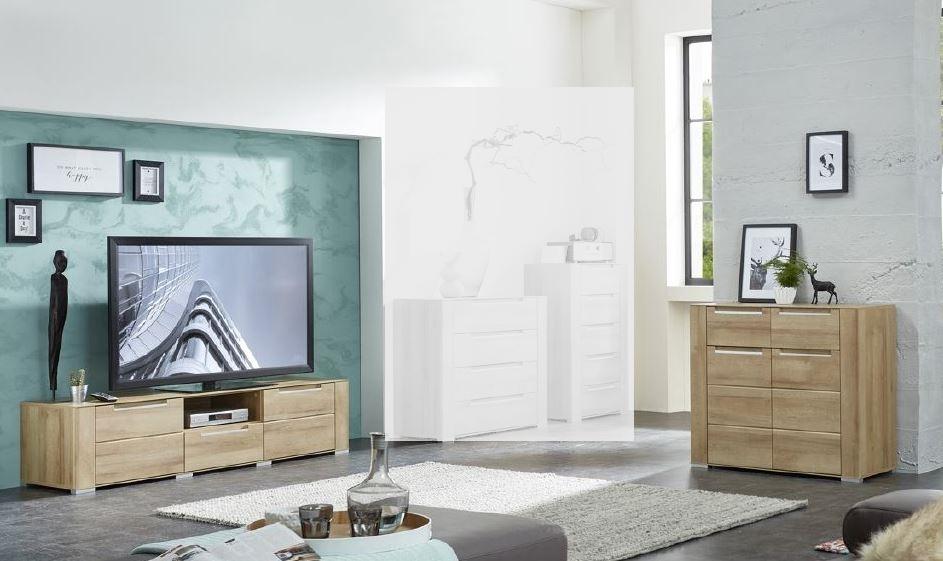 Wohnwand Wohnzimmer-Set 2 tlg. kleine Kommode TV lowboard TV Tisch ...