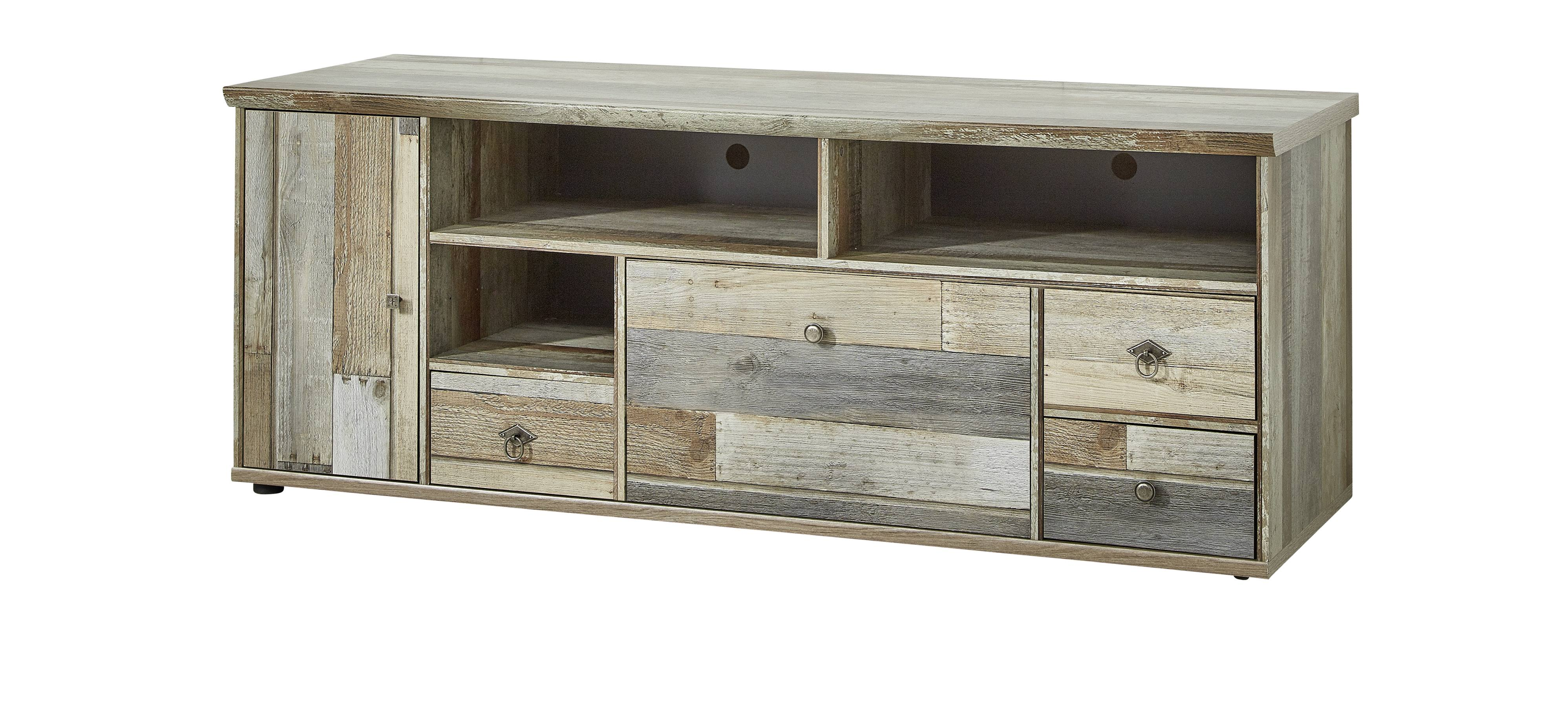 wohnwand wohnzimmer set 3 tlg kommode lowboard wandregal vintage shabby ebay. Black Bedroom Furniture Sets. Home Design Ideas