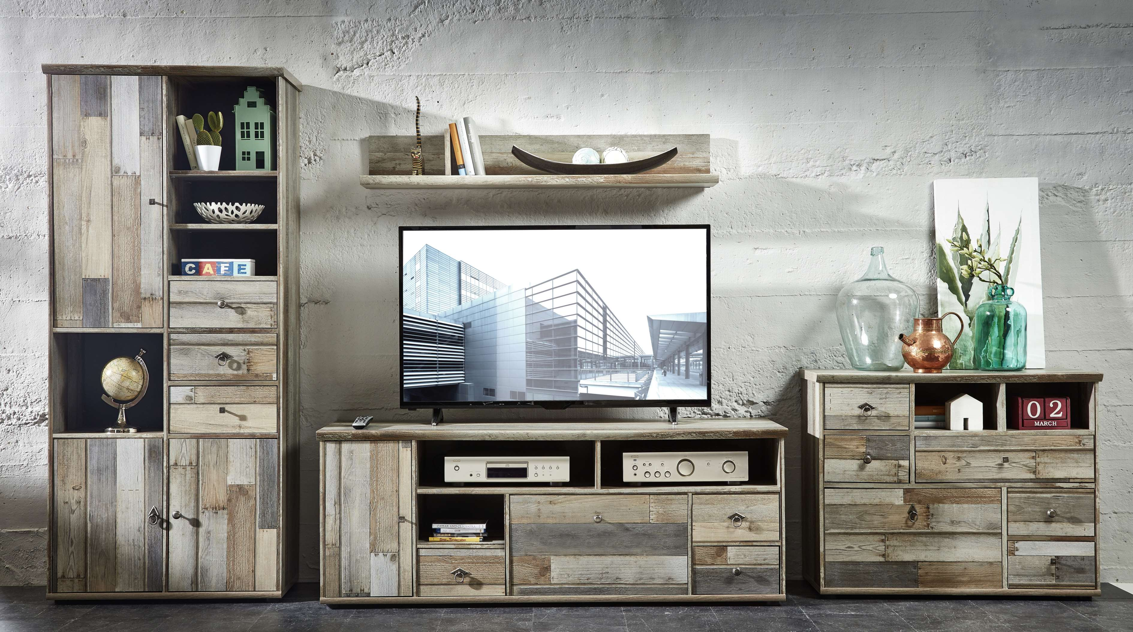 wohnwand wohnzimmer-set 5 tlg. schrank kommode tisch wandregal ... - Wohnzimmer Vintage Look