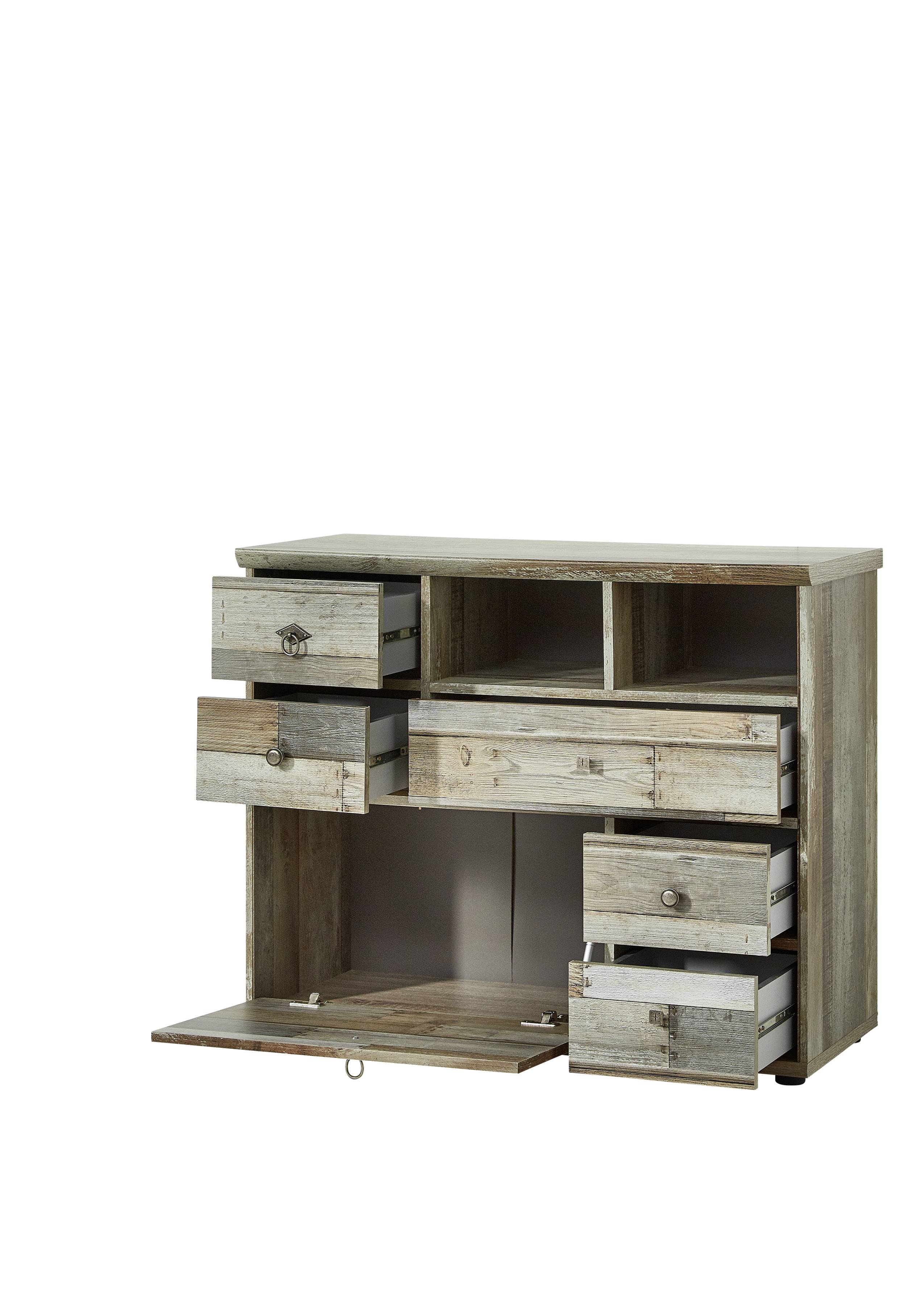 wohnwand wohnzimmer set 4 tlg schrank kommode lowboard wandregal vintage shabby 4250314530731. Black Bedroom Furniture Sets. Home Design Ideas