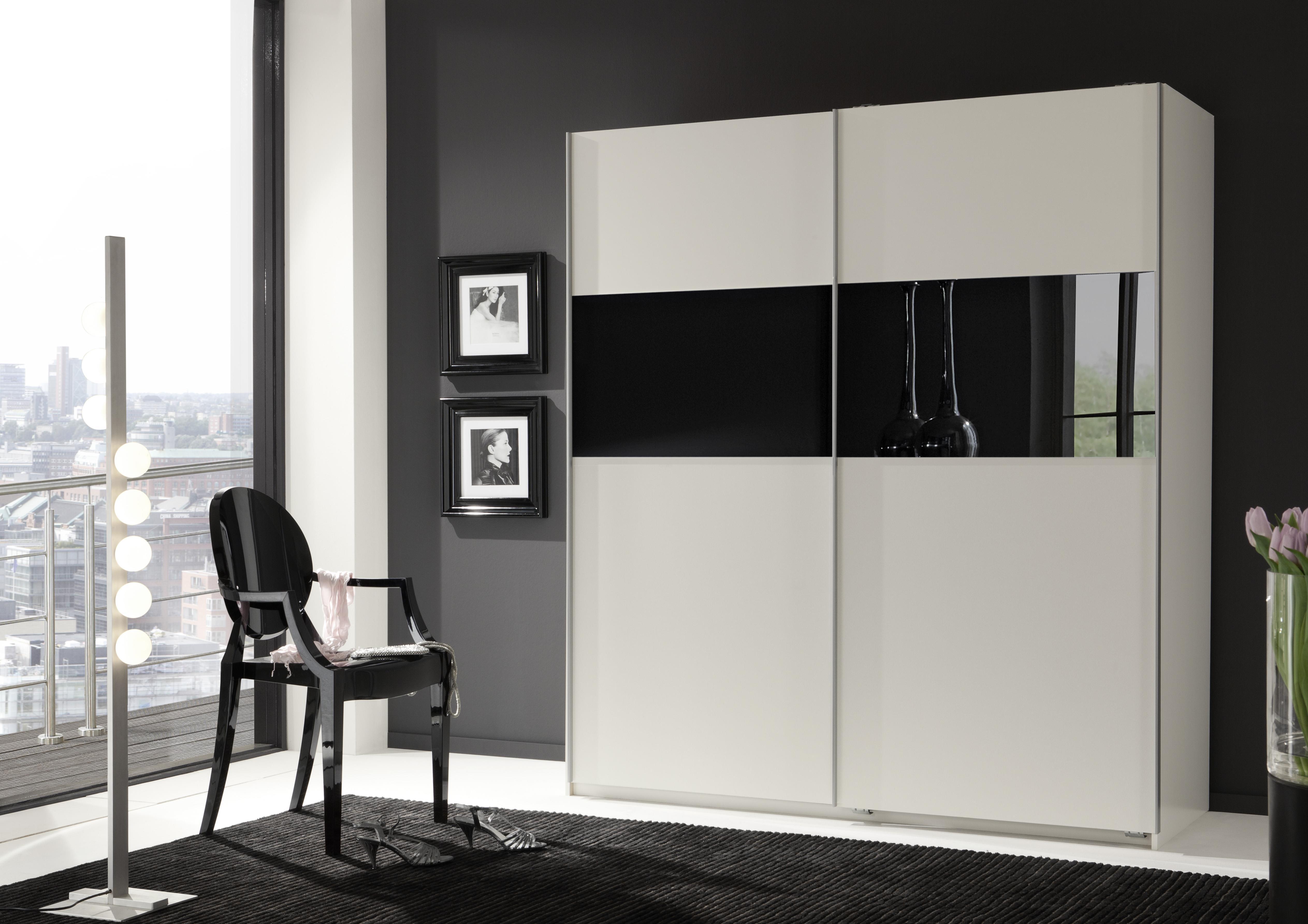 schwebet renschrank arezzo kleiderschrank schrank alpinwei mit abs glas schwarz ebay. Black Bedroom Furniture Sets. Home Design Ideas