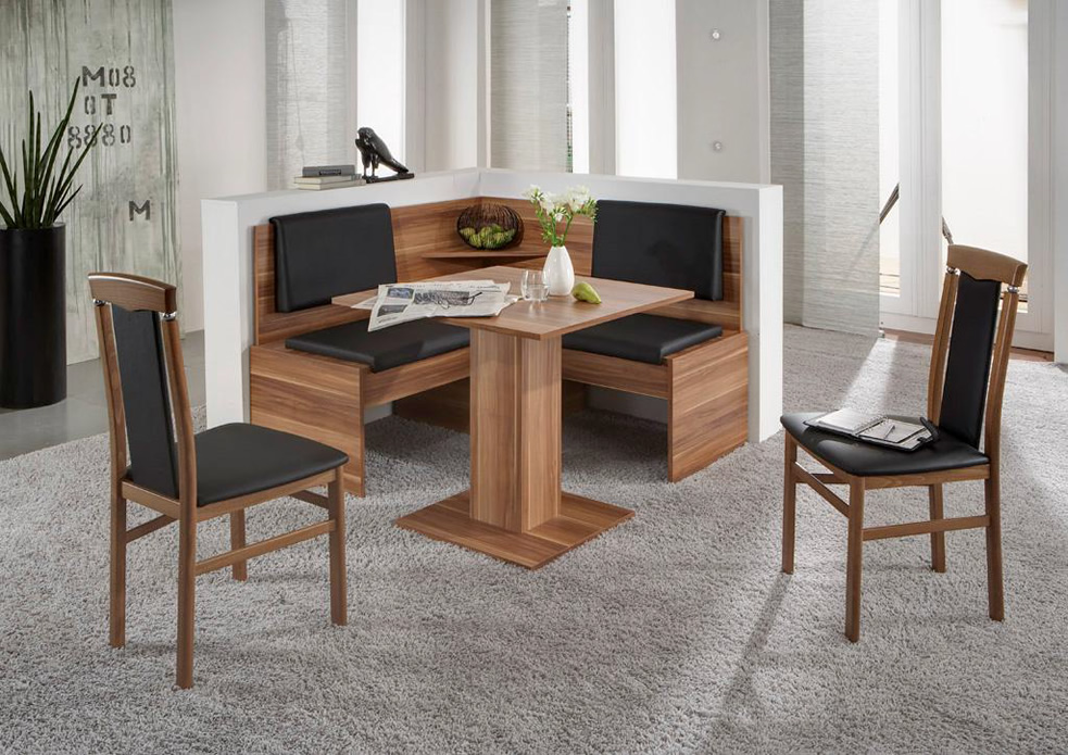 eckbankgruppe jonny eckbank tisch sitzgruppe k che esszimmer walnuss schwarz ebay. Black Bedroom Furniture Sets. Home Design Ideas