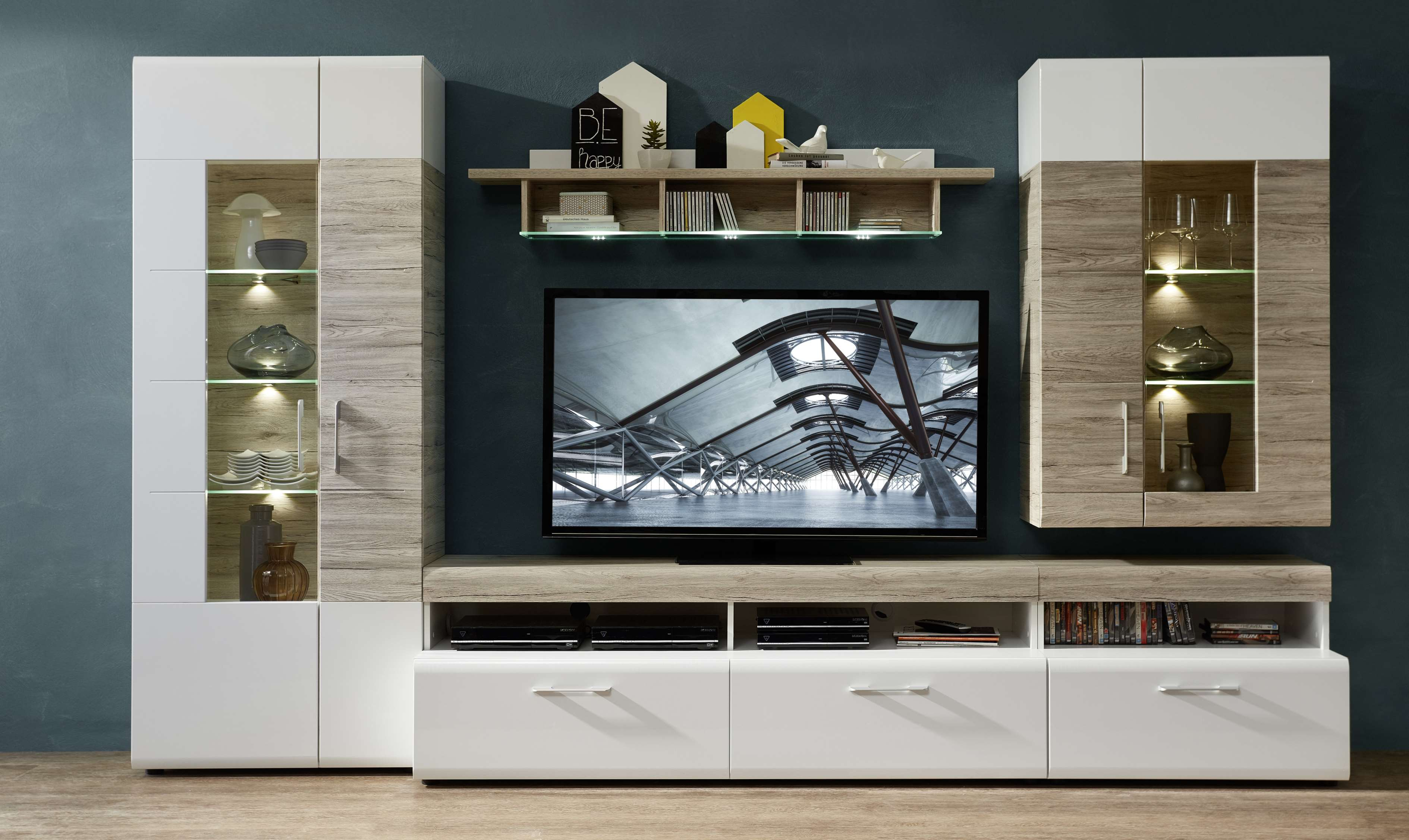 wohnwand spirit wohnzimmer set vitrine h ngeregal wandboard tv regal wei led ebay. Black Bedroom Furniture Sets. Home Design Ideas