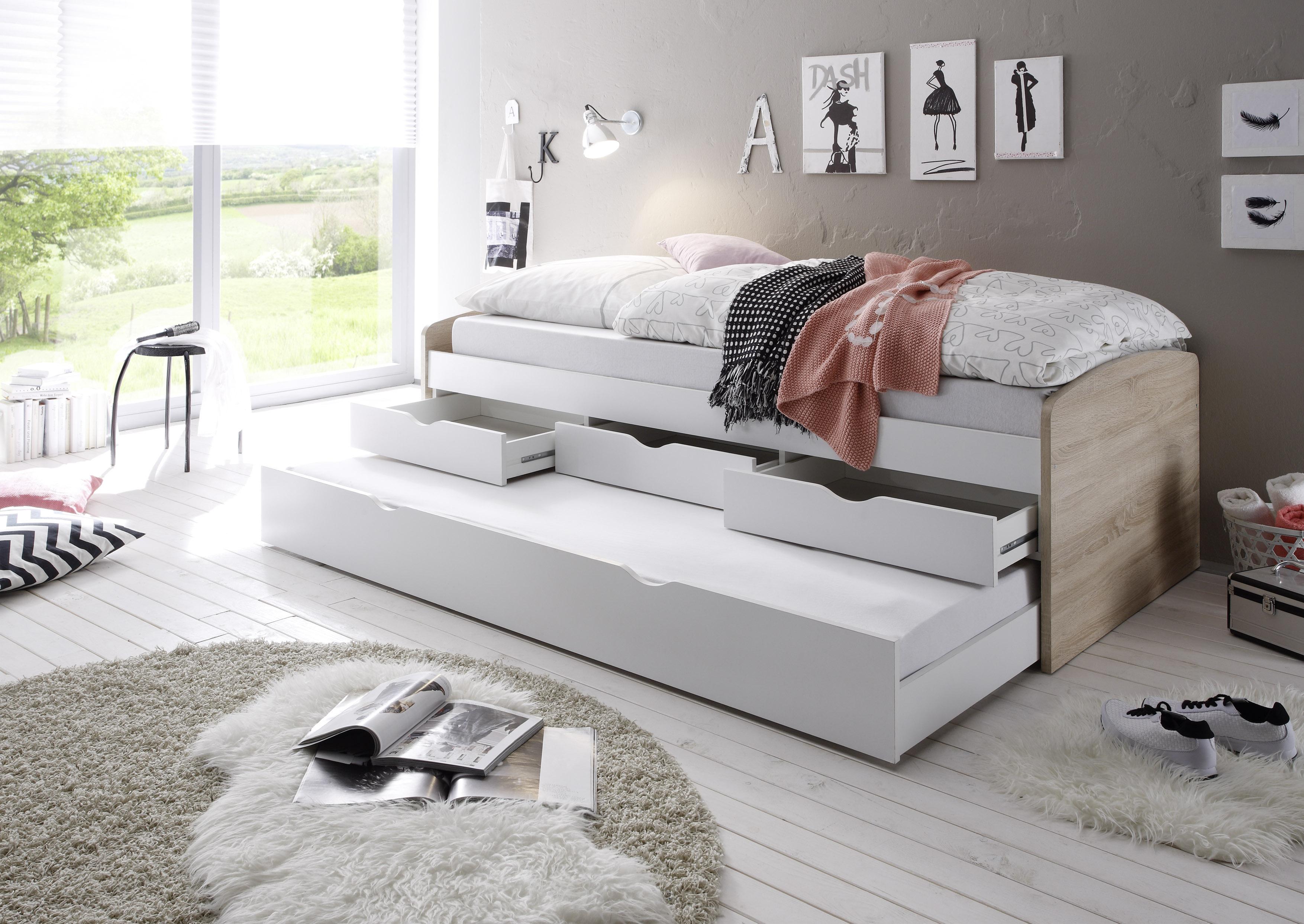 """Malerisch Bett Einzelbett Ideen Von Ausziehbett Schubladenbett Tandembett """"nessi"""" 90cm Weiß Sonoma"""