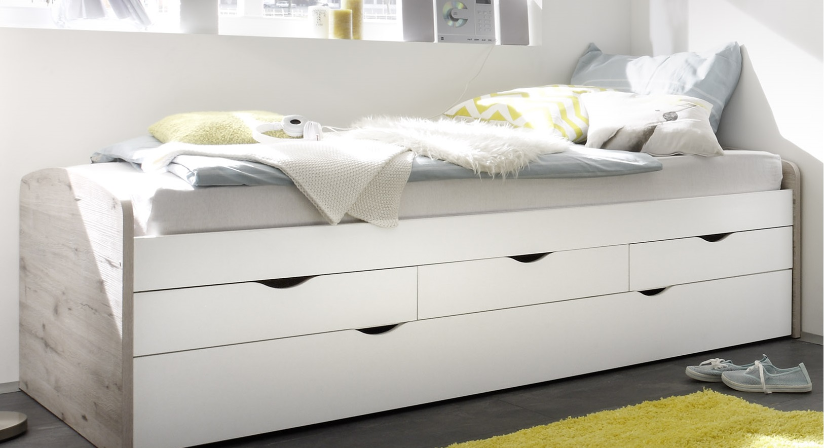 bett einzelbett ausziehbett schubladenbett tandembett 90cm wei sandeiche ebay. Black Bedroom Furniture Sets. Home Design Ideas