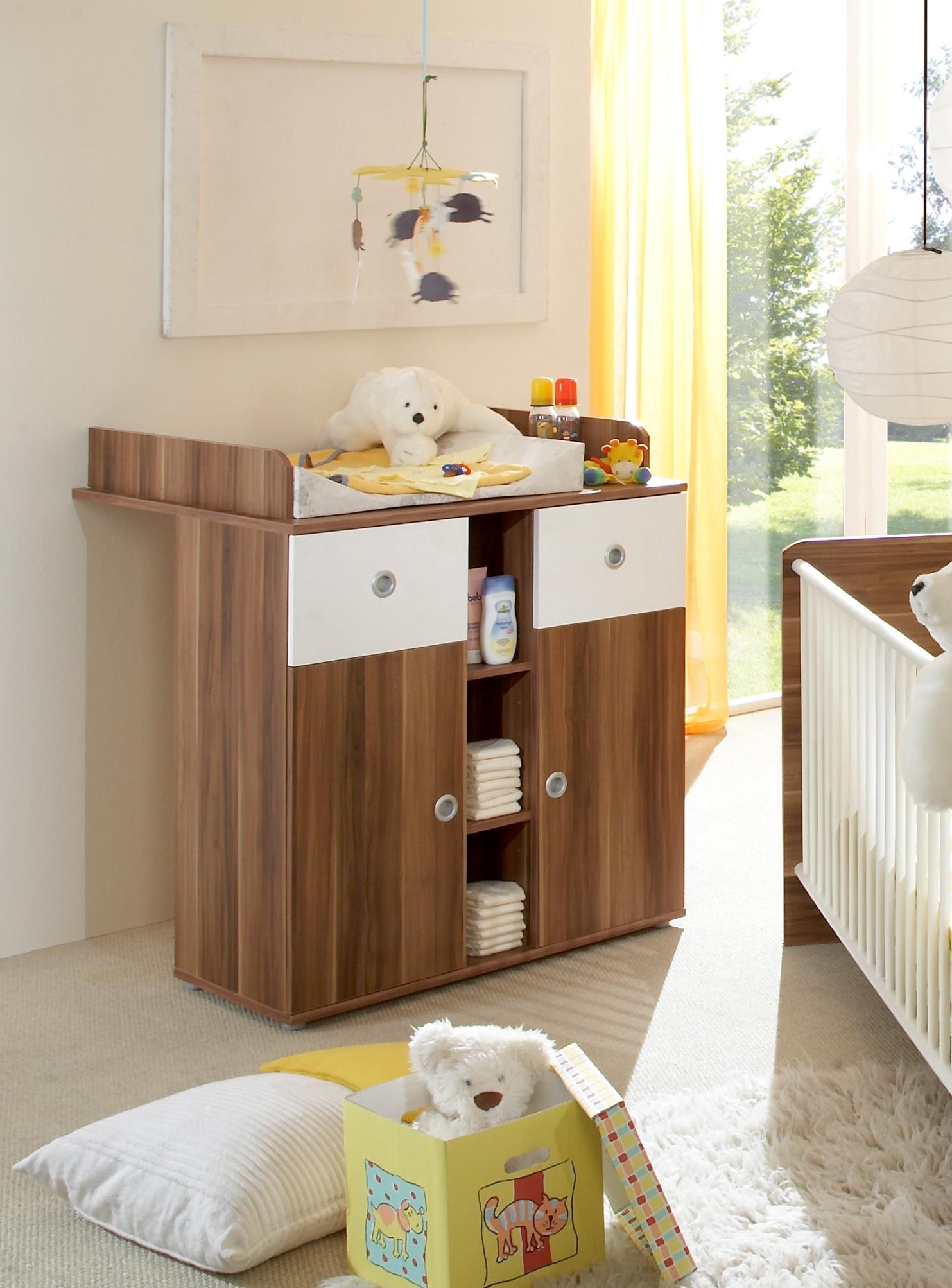 Babyzimmer Set Babymobel Wiki Wickelkommode Bett Regal Schrank Walnuss Weiss Ebay