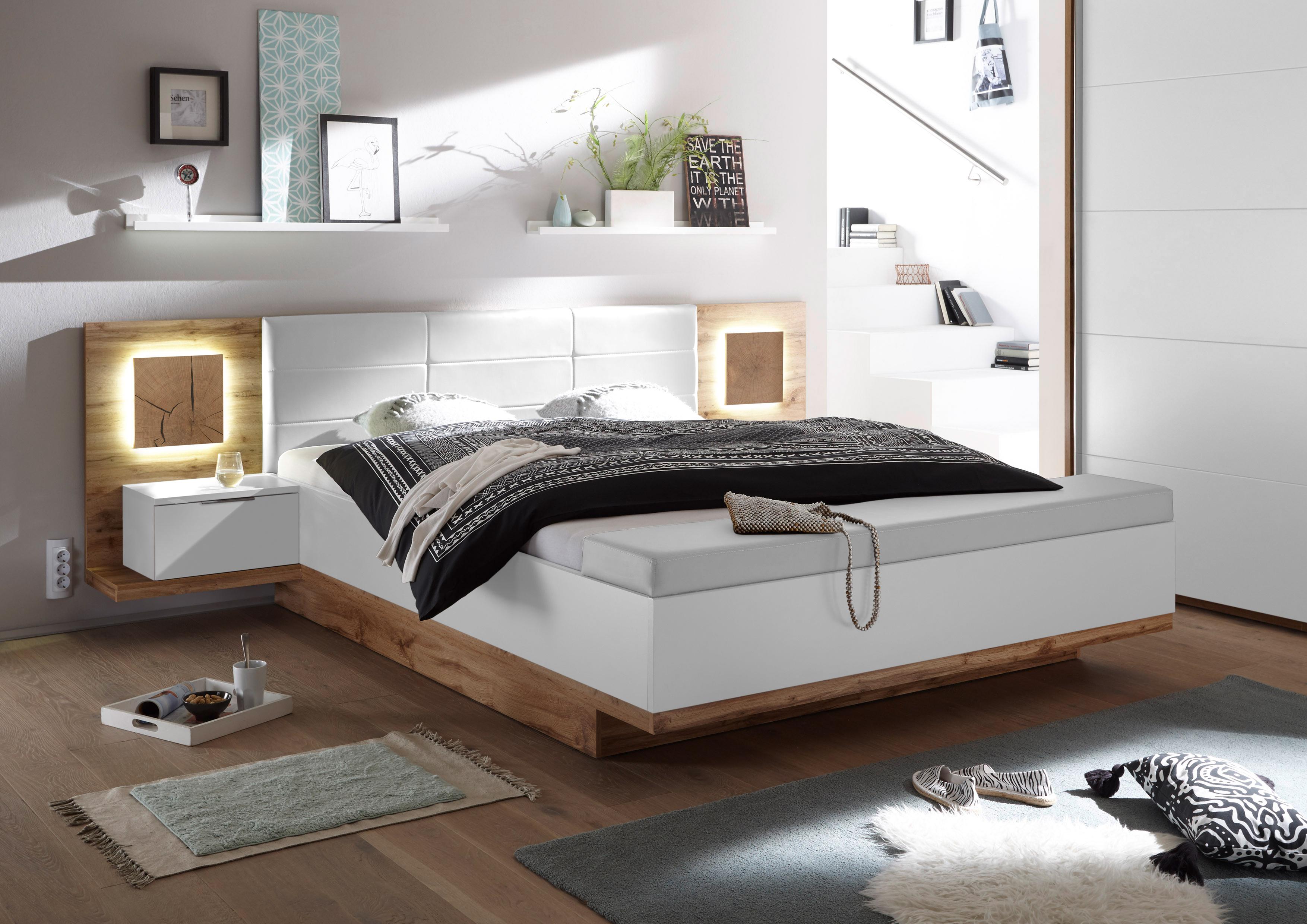 Details Zu Doppelbett Nachtkommoden Capri Xl Bett Ehebett Fussbank 180x200 Weiss Eiche