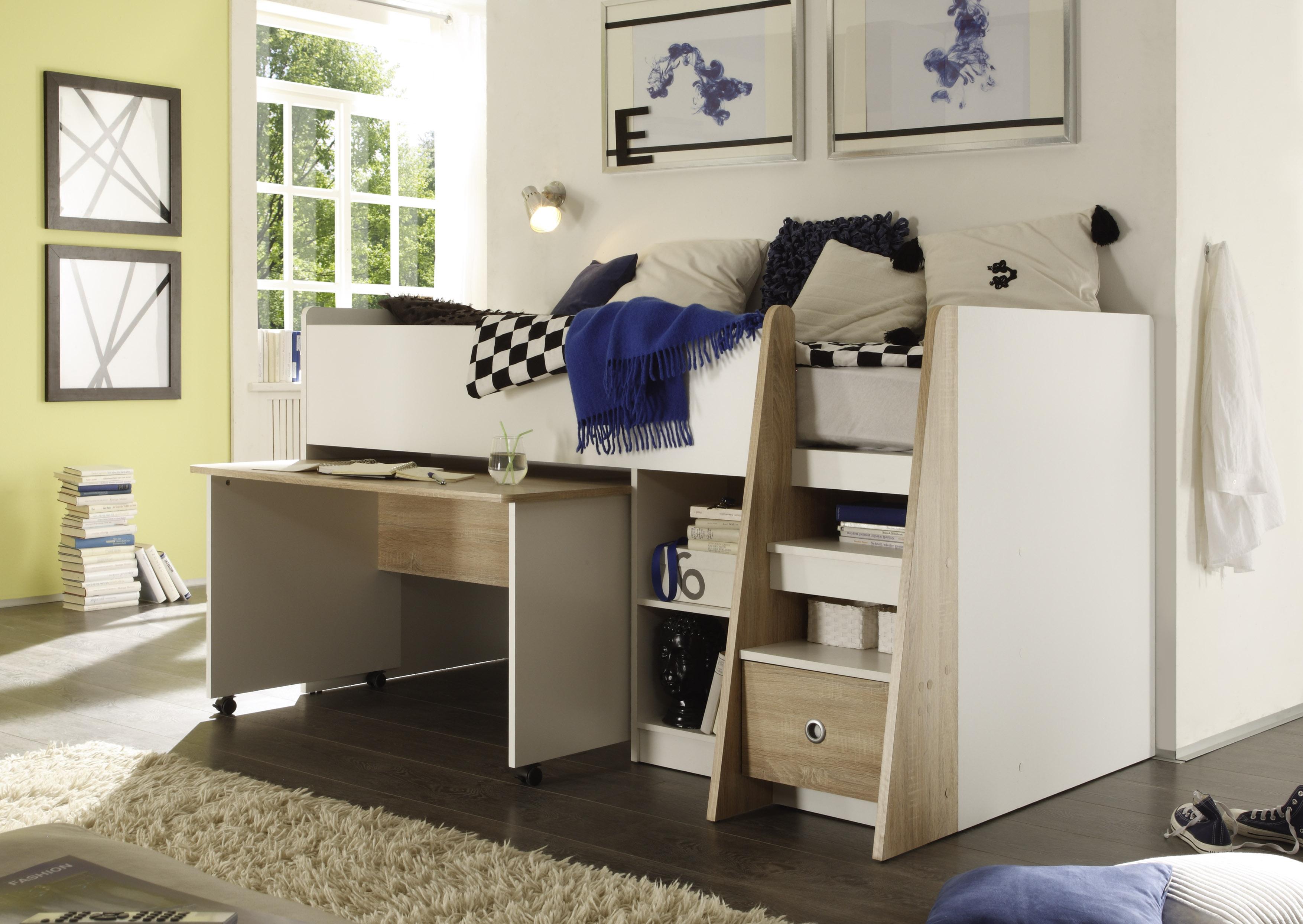Etagenbett Schutz : Space concept eck etagenbett midi mit leiter
